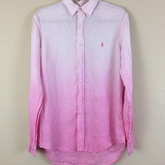 Ralph Lauren Linen Pink Button Size Shirt Ombre M 7Ybg6fy
